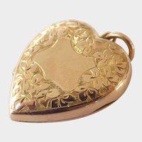Victorian 9CT 9K Gold F&B Engraved Heart Hair Locket~Large
