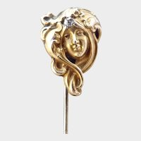 Beautiful 14K Gold & Silver Art Nouveau Lady Diamond Stickpin