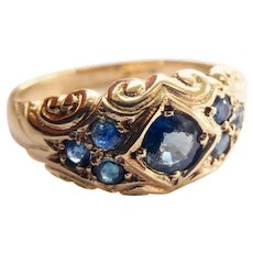 Lovely Antique 9CT 9K Gold Sapphire Ring~1904