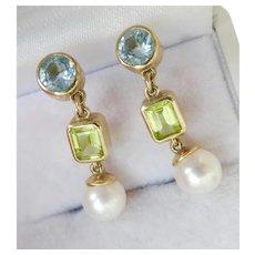 9CT 9K Gold Aquamarine Peridot Pearl Drop Earrings