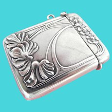 Lovely Art Nouveau Silver Flower Match Safe Vesta Case Striker~ German Secessionist