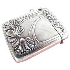 Lovely Art Nouveau Silver Flower Match Safe Vesta Case Striker~ German Secessionist
