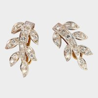 Sparkly 18K Gold 0.85 ct. Diamond-set Leaf Drop Earrings