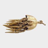 Victorian 15CT 15K Gold Engraved Tassel Fob Pendant