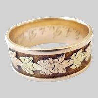 Antique 14K Gold Leaf Motif Band Ring