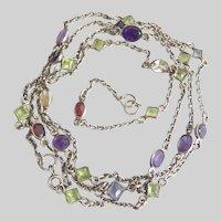 "Lovely Vintage 35"" Long Silver Gemstone Necklace"