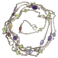 "Lovely Vintage 35"" Long Silver Gemstone Necklace"