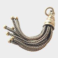 Lovely 14K Gold Tassel Fob Charm Pendant