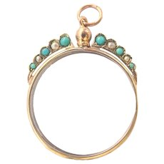 Gorgeous Edwardian 9CT 9K Gold Turquoise Pearl Crystal Photo Locket Pendant~1905