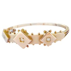 Antique 9K Gold Diamond Geometric Hinged Bracelet