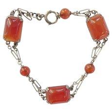 Art Deco Sterling Silver Carnelian Bracelet