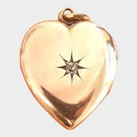 Victorian 10K Rose Gold Heart Diamond Starburst Locket Pendant