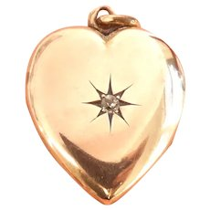 Victorian 10K Rose Gold Heart Diamond Starburst Locket Pendant