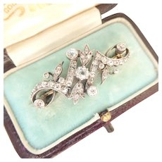 Victorian Silver-topped 9Ct 9K Gold Tulip Diamond Brooch Pin