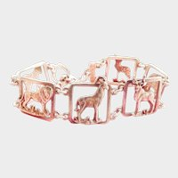 Vintage Animal Menagerie Openwork Silver Toggle Bracelet