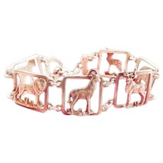 Vintage Animal Menagerie Openwork Silver Toggle Bracelet