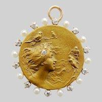 Superb Art Nouveau 14K Gold Diamond Pearl Krementz Lady with Birds Pendant/Pin