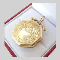 Antique 9CT 9K Gold Engraved Locket Pendant