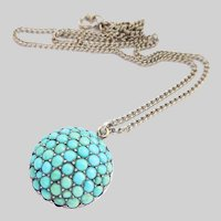 Large Victorian Turquoise Cluster Silver Domed Pendant