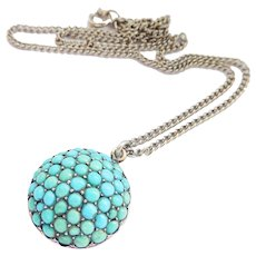 HOLD Victorian Large Turquoise Cluster Silver Domed Pendant