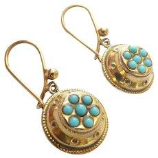 Lovely  9CT 9K Gold Blue Stone Pendant Earrings