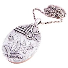 Antique Aesthetic Large Silver Locket Pendant with Chain~1884
