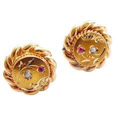 Sweet 15CT 15K Gold Victorian Seed Pearl Garnet or Ruby Earrings