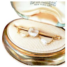 Antique 14K Gold Natural Baroque Saltwater Drop Pin