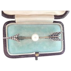 Antique 18K Pearl Rose-cut Diamond French Jabot Arrow Pin