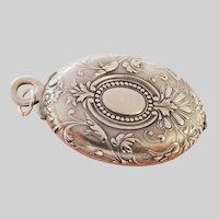 Terrific French Silver Slide Locket Pendant~Art Nouveau
