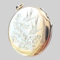 Lovely Antique 9CT 9K Rosy Gold Bird Hinged Locket Pendant