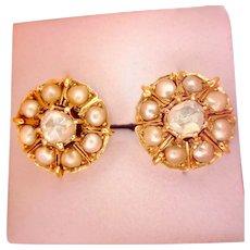 Outstanding 18K Gold Victorian  Rose Cut Diamond Seed Pearl Earrings