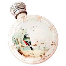 Fine Antique 19th Century Porcelain Bird Perfume/Scent Bottle