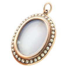 Stunning Antique 9CT 9K Rose Gold Double-Sided Pearl Locket Pendant