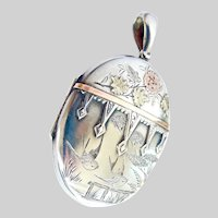 Victorian Sterling Rose and Yellow Gold Hinged Locket with Birds, Flowers~1881