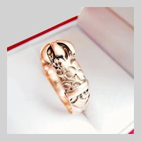 Late Edwardian 9CT 9K Rose Gold Engraved Buckle Ring