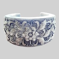 Large Wide Silver Floral Applique Cuff or Arm Bangle Bracelet