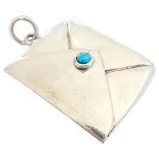 Lovely Sizable Sterling Opening Envelope Turquoise Vintage Charm Pendant