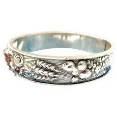 Lovely Swedish Sterling Silver Harvest Hinged Bracelet