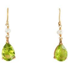 Elegant 9CT 9K Gold Peridot Seed Pearl Dangle Earrings