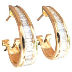 Classic 14K Gold 1.00 ct. Baguette-cut Diamond Hoops