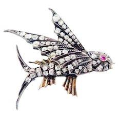 Superb Silver 14K Gold 2.00 carats Diamond Flying Fish Victorian Pin