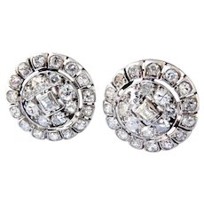 Exquisite Antique French 18K White Gold & Platinum 1.10 ct. Diamond Earrings