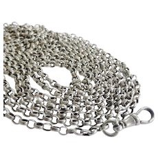 """Terrific Victorian 68.5"""" Sterling Silver Watch Guard Chain"""