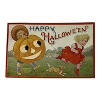1908 IAP Halloween Postcard Embossed Dog JOL Children Kids Jack O Lantern Jackolantern