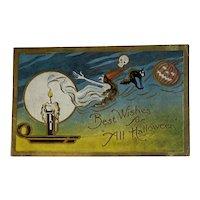 1911 TR Co Halloween Postcard Skull Witch Full Moon Black Cat Candle JOL Jack O Lantern Jackolantern Embossed