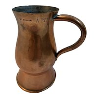 Scottish Dundee Copper Applied Over Pewter Imperial ½ Pint Measure