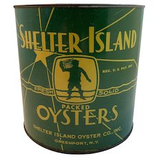 Shelter Island Oyster Tin ½ Gallon Greenport New York