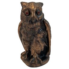 Cast Metal Bronze Finish Owl Bank with Red Glass Eyes