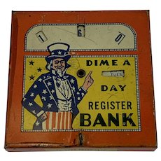 Uncle Sam Dime a Day Register Bank Tin Litho Lithograph